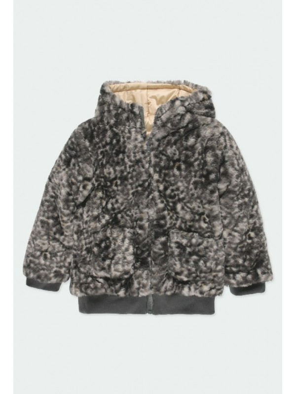 Parka reversible animal print de niña